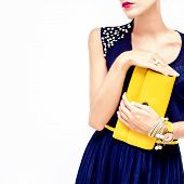 stock photo of clutch  - fashion portrait of the sensual stylish girl - JPG