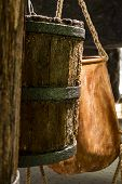 stock photo of salt mine  - Old buckets used for transportation salt in salt mine - JPG