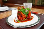 image of chinese wok  - Wok fried shrimps with sweet sauce and coriander leaves - JPG