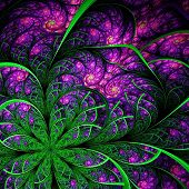 Beautiful Fractal Flower In Green And Vinous. Computer Generated