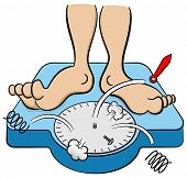 picture of collapse  - vector illustration of a bathroom scale collapses under weight - JPG