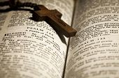 stock photo of beads  - Open Holy Bible and Wooden Rosary Beads - JPG