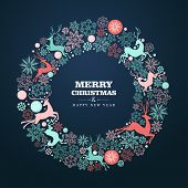 image of christmas wreath  - Merry Christmas and Happy New Year wreath shape greeting card background - JPG