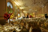 foto of banquet  - a high end wedding banquet hall decorated for a wedding reception - JPG