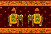 image of indian elephant  - vector illustration of decorated elephant - JPG