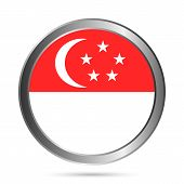 stock photo of crescent-shaped  - Singapore flag button on a white background - JPG