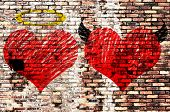 foto of good-vs-evil  - Valentines day background wih two hearts  - JPG