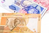 picture of nelson mandela  - Close up of 20 50 100 South African currency the Rand isolated on white background - JPG