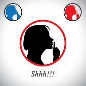 picture of shhh  - girl gesturing silence saying shh using her hand  - JPG