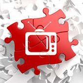 stock photo of televisor  - TV Set Icon on Red Puzzle - JPG