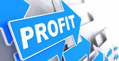 picture of profit  - Profit on Blue Arrow on a Grey Background - JPG