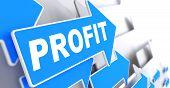 stock photo of profit  - Profit on Blue Arrow on a Grey Background - JPG
