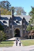 stock photo of quadrangles  - Students walking to class at Princeton University in New Jersey - JPG