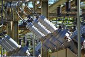 stock photo of substation  - A view of a high voltage substation with switches and insulators