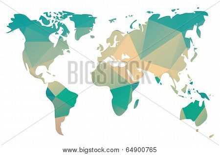 World map in triangle geometric pattern design, vector illustration