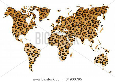 World map in animal print design, leopard, tiger, zebra, vector