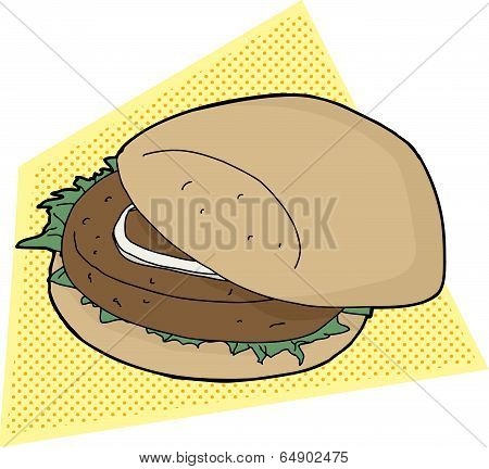 Burger On Yellow Background
