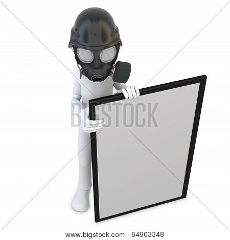 3D Man With Gas Mask And Blank Banner