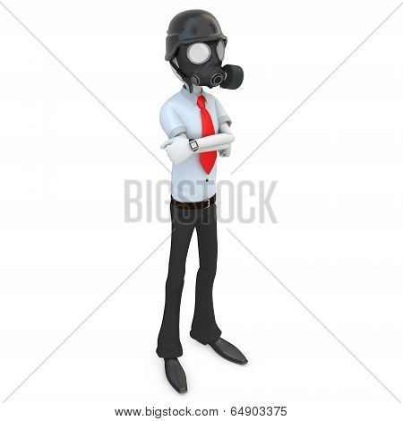3D Business Man With Gas Mask
