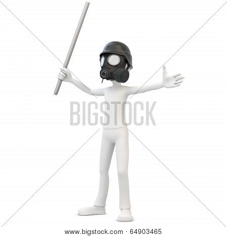 3D Man With Gas Mask And Metal Pipe