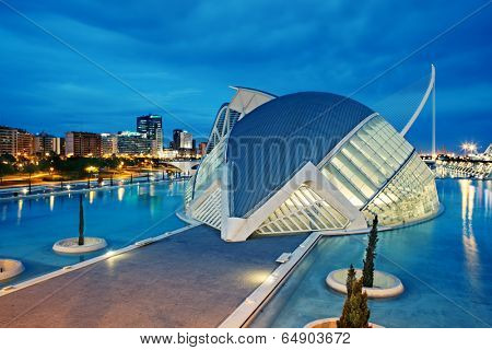 VALENCIA, SPAIN - APRIL 20, 2014: Evening view over the L'Hemisferic, a IMAX 3D-cinema, planetarium and laserium in the City of Arts and Science, Valencia Spain