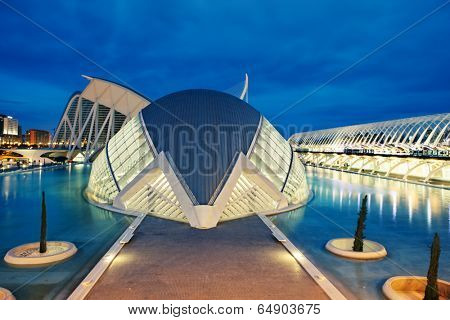 VALENCIA, SPAIN - APRIL 20, 2014: Evening view over the L'Hemisferic, a IMAX 3D-cinema, planetarium and laserium in the City of Arts and Science, in Valencia Spain