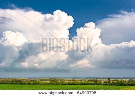 Storm Clouds Over Field And Forest Belt