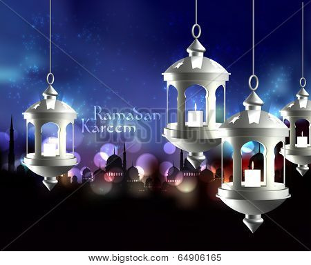 Vector 3D Muslim Oil Lamp. Translation: Ramadan Kareem - May Generosity Bless You During The Holy Month.