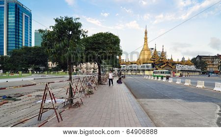 Yangon, Myanmar - October 12, 2013: Traffic In Downtown Yangon