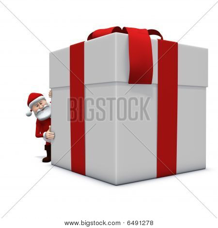 Santa Looking Around Very Big Present