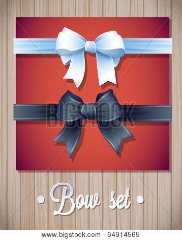 Vector  Ribbons And Bows Set Illustration. colorful gift bows with ribbons