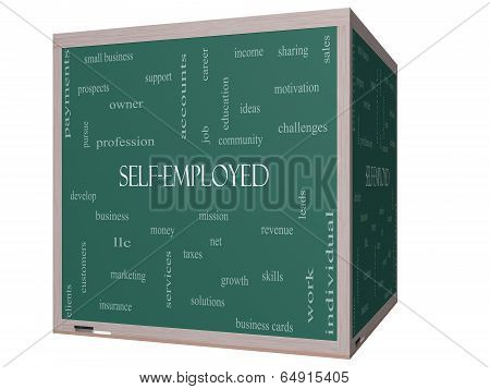 Self-employed Word Cloud Concept On A 3D Blackboard