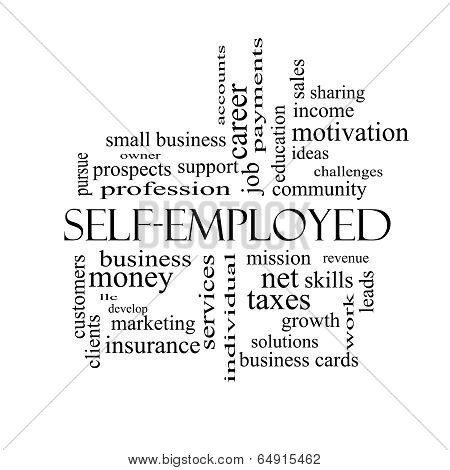 Self-employed Word Cloud Concept In Black And White