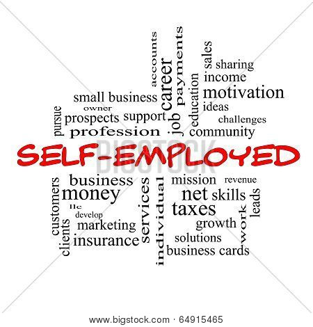 Self-employed Word Cloud Concept In Red Caps