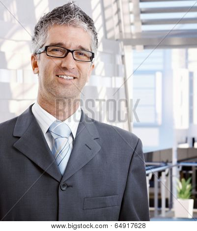 Portrait of happy mid adult caucasian male business advisor. Wearing suit and glasses, looking at camera, smiling. Copyspace.