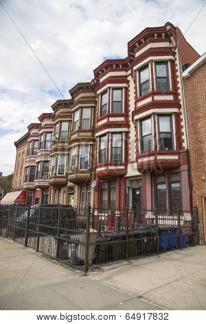 New York City brownstones in Bedford Stuyvesant neighborhood in Brooklyn