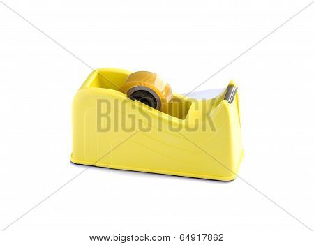 Yellow Scotch Tape Holder Isolated