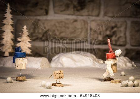 Wine Cork Figures, Concept Snowballs And Children