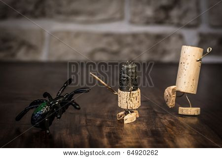 Wine Cork Figures, Concept Spider And Bravery Knight