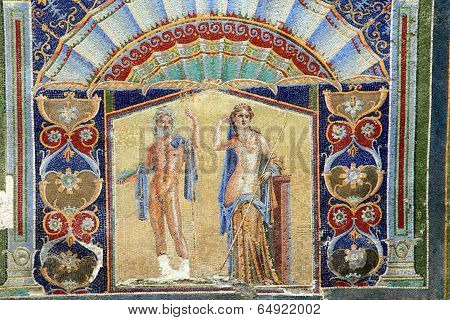 Neptune and Salacia wall mosaic in Herculaneum, Italy