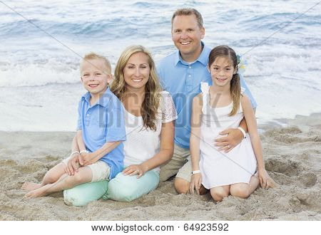 Beautiful Family portrait at the beach