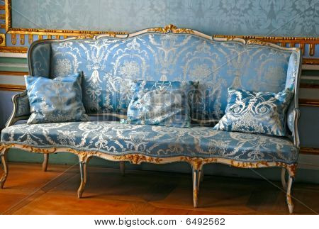 Blue Sofa In Mansion