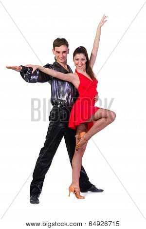 Portrait of young elegance tango dancers