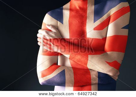 Topless Man With Great Britain Flag Painted On His Body