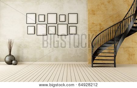 Vintage Room With Circular Staircase