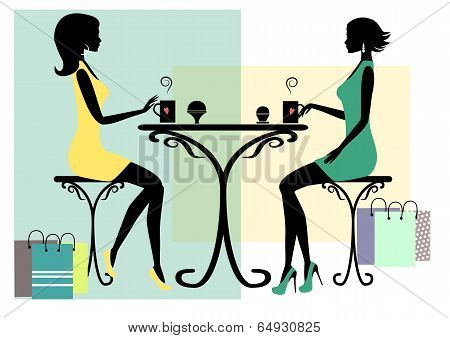 Silhouette of two fashionable shopping women
