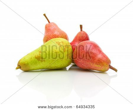 Ripe Pears On A White Background Closeup
