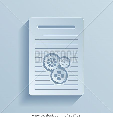 Paper icon of document with gears. Vector illustration