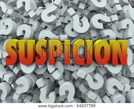 Suspicion word on question mark background