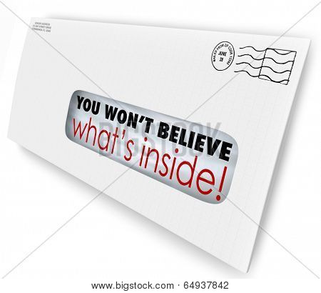 You Won't Believe What's Inside words through window envelope
